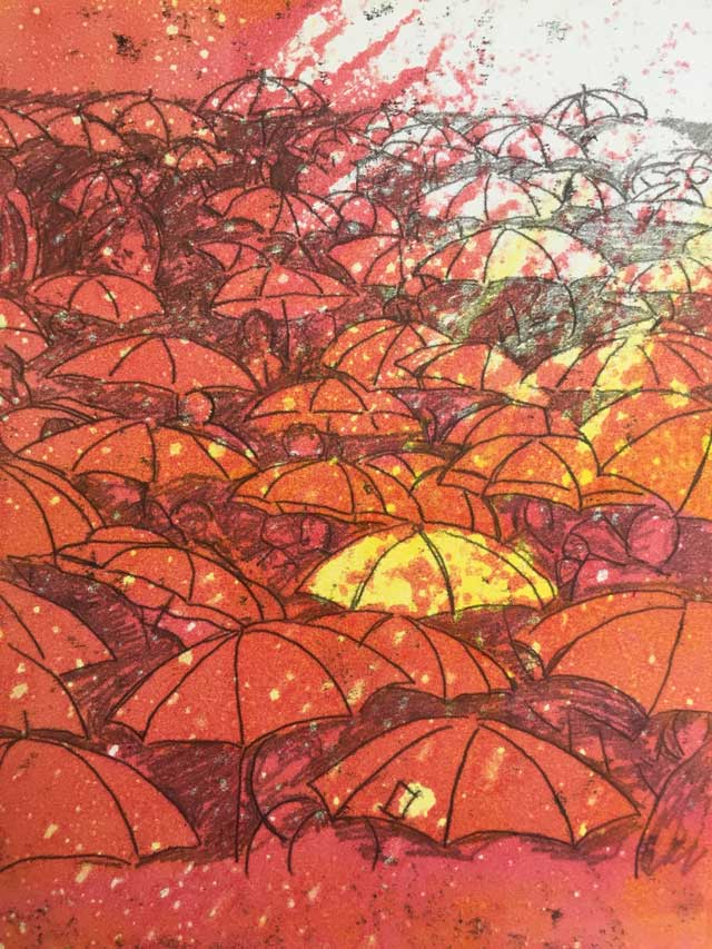 Dappled sunlight on umbrellas monoprint