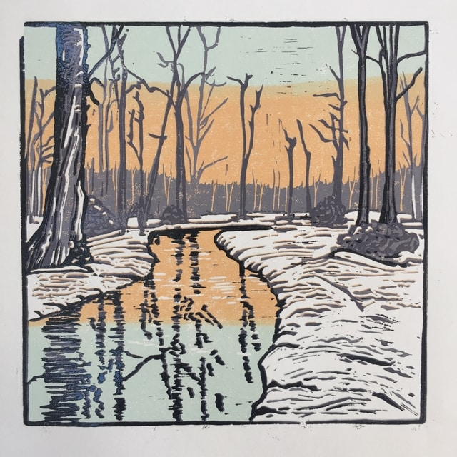new forest reduction linoprint