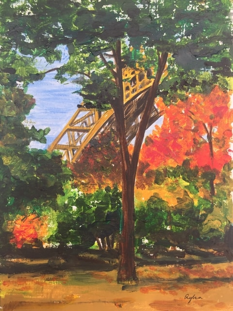 paris a glimpse at the eiffel tower in autumn in acrylic