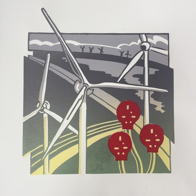 windturbines reduction linoprint