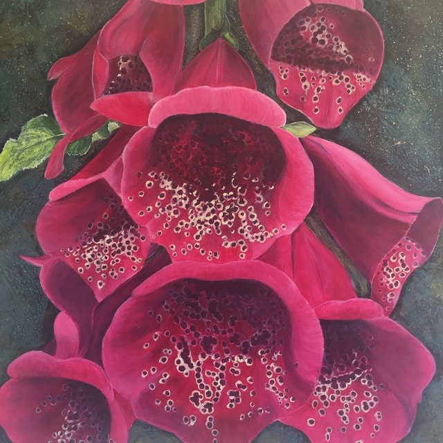 foxgloves in acrylic