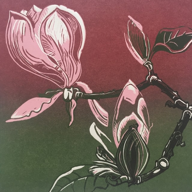 magnolias reduction linoprint