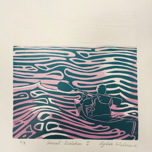 Social_isolation_reduction_linoprint_kayaking