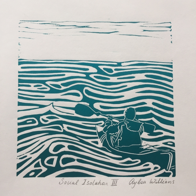 social_isolation_linoprint_kayaking