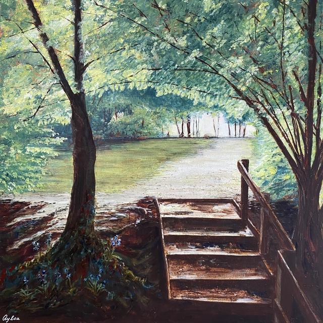 into the light woodland acrylic painting
